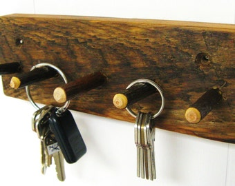 RUSTIC KEY RACK - w/ Barn Wood + Twig Hooks - Jewelry Rack - Key Holder - Key hooks - Key Rack - Organizer - Primitive - Reclaimed Material
