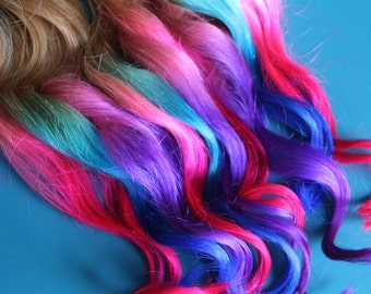Solid Ombre Clip In Hair Extensions, Ombre Hair,  Tie Dye Tips,  Hair Wefts, Human Hair Extensions, Hippie hair, Teal Hair