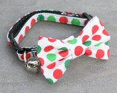 Cat Collar - Red Green Polka Dots - Matching Bow Tie and Flower Available