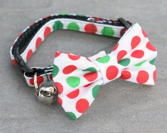 Red and Green Dots, Red and Green Collar, Holiday Polka Dots, Cat Collar - Red Green Polka Dots - Matching Bow Tie and Flower Available