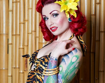Rockabilly Double Yellow Lily Hair Flower