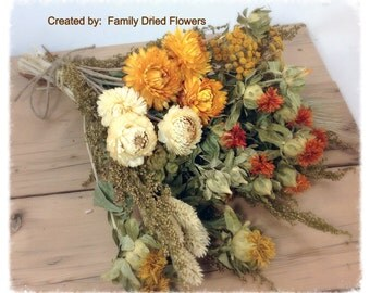 DIY Bundle of Coordinating Dried Flowers - Prairie Sunset Collection - Burnt orange, cream, golden yellow - Rustic Fall Wedding