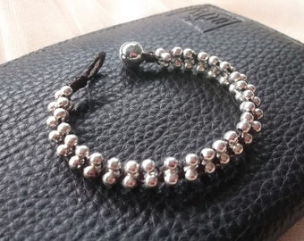Trendy Round Silver  Plate Beads Bracelet/Thailand/Handmade/Jewelry/Gift/Idea/for mom/Boho/Gypsy/Pagan/Yoga/Yogi/Wicca bracelet/summer/back