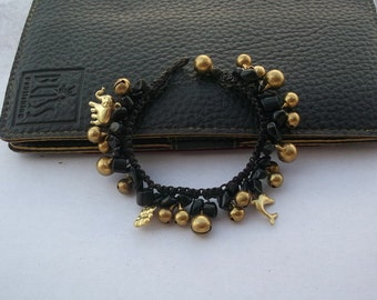 Thailand Handmade  black Bracelet woven with dark brown waxy rope new collection on summer Nannapatt