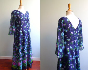 70s hippie boho navy purple green floral maxi dress L