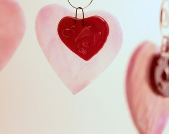 Pink Valentine Sweetheart Heart Hanging Glass Ornament