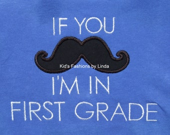 Blue  Mustache Tshirt Kindergarten,First Grade, Second Grade,etc