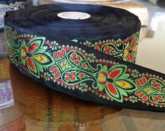"1.25"" Vintage Palmette Beauty Black/Green/Red embroidered Jacquard ribbon trim # 404-04"