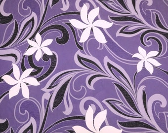 "Hawaiian Tahitian Fabric, Purple with White & Black Tiare Print - 45"" wide, 2 yd (Other Colors Available)"