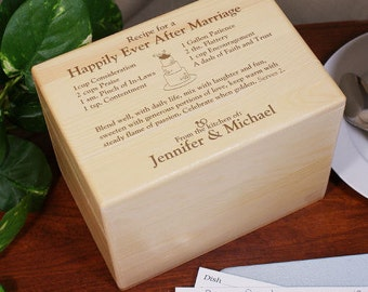 Engraved Happily Ever After Recipe Box, engraved, wood recipe box, wedding recipe box, wedding gift, housewarming gift, home -gfy8526843