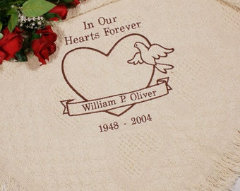 Personalized In Our Hearts Memorial Afghan, blanket, custom, throw blanket, memorial gift, memorial blanket, heart, dove -gfy83134003