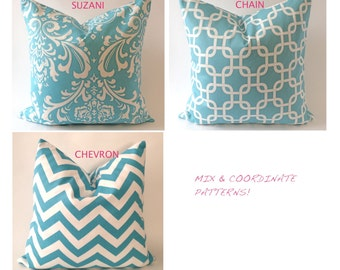SET OF TWO 16x16 to 18x18 Decorative Pillow Cover - Aqua and White - Medium Weight Cotton- Invisible Zipper Closure- Cushion Cover