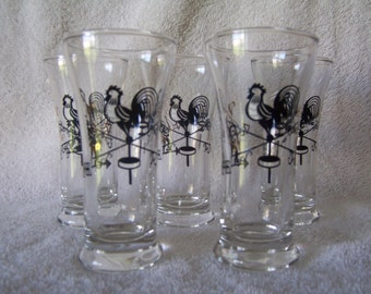 Mid Century Juice Glasses - Rooster - Weathervane - Gold and Black - Brandy Glasses