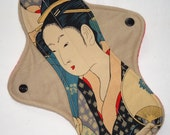 10 inch Moderate flow Cloth Pad - Geisha Print