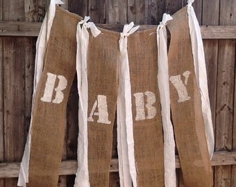 Baby Love Burlap Banner for Babys Room Country Shabby Baby Shower Barn Chic Banner Rustic Photo Prop Sign Cottage Chic Decoration ON SALE