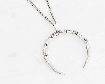 Crescent pendant - silver