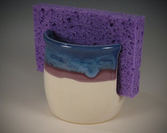 Sponge Holder with purple / blue and eggshell white glaze by Seiz Pottery