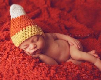 Baby Boy Hat, Baby Girl Hat, Crochet, Candy Corn Hat,  NEWBORN, Photography Prop Hat, Halloween, Candy, Candy Corn Beanie