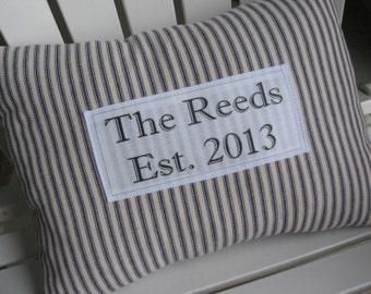 Classic Ticking Stripe Pillow - Custom Established Wedding, Family Name, Blue, Navy, Established Date, Pillows, Farmhouse, Housewarming
