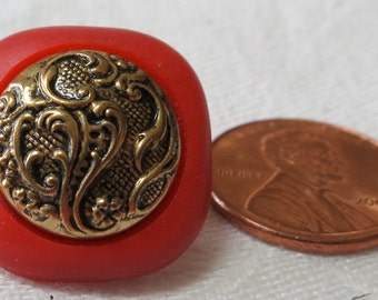 2 Red Vintage Buttons with raised center UNK13.7.7.11-11