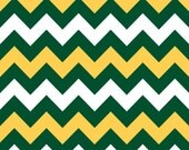 LAMINATED cotton fabric (aka oilcloth coated wipeable fabric) by the yard - Green Gold white chevron by the yard  Greenbay