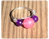 Pink Jade and purple amethyst ring. Wire wrapped