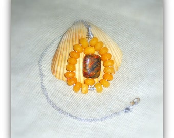 Stunning Orange Azurite Chrysocolla and Mustard Topaz Pendant Necklace // sterling silver chain