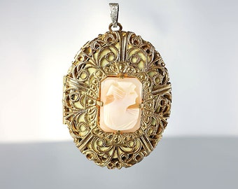 Carved Shell Cameo Locket Pendant, Vinegraitte Filigree Victorian Revival Locket, Vintage jewelry