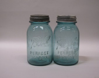 Vintage Quart Aqua Ball Canning Jars - set of two - with zinc lids