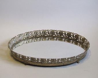 Vintage Gold Filigree Mirrored Oval Tray / Vanity Mirror