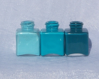 Teal Ombre Mini Vases
