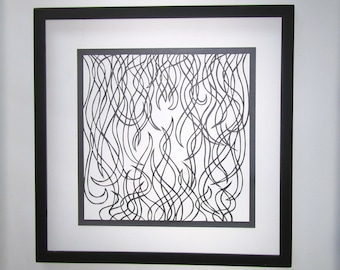 FLAMES of FIRE Geometric Abstract Design Silhouette Paper Cut Wall Art Home Décor ORiGiNAL Handcut Handmade in Metallic Black FRAMEd OOAK