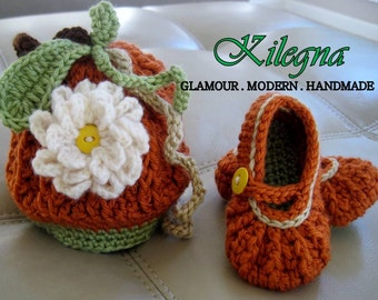 Baby crochet mary jane shoes booties and baby hat 0-6 month Photo  Prop newborn take home