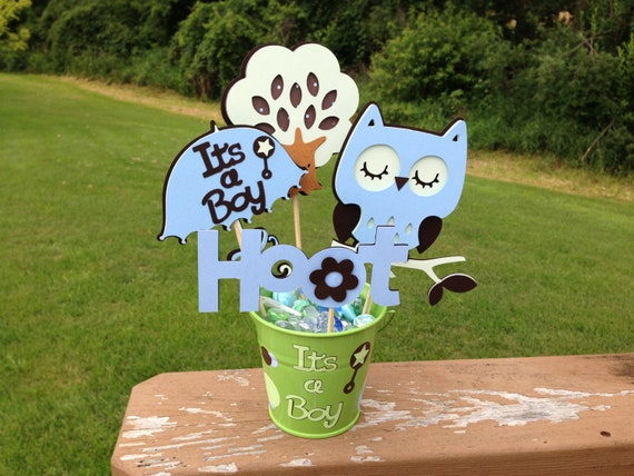 baby shower table centerpiece decoration it 39 s a boy owl blue brown and