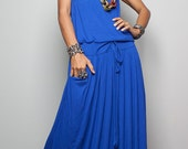 Blue Maxi Dress -  Sleeveless dress : Autumn Thrills Collection No.9s  (New Arrival)
