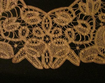 Vintage Beautiful Dark Ecru Cotton  Battenburg Lace Collar, Vintage Lace, Vintage Collar, Vintage Accessory, Ecru Lace