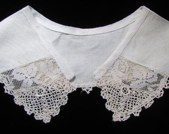 Vintage Lace and Linen Collar, Antique Lace, Antique Collar, Grandmom's Lace, Vintage Filet and Irish Lace Collar
