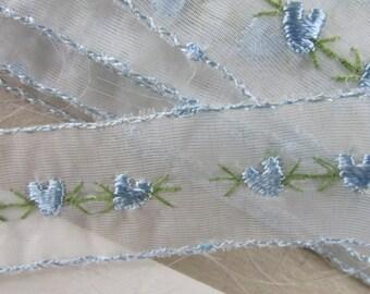Vintage Wide Sheer Blue Floral Embroidered Lace, Embroidered Lace, Vintage Lace, Vintage Sewing Supplies, Vintage Craft Supplies