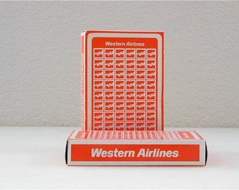 Vintage Western Airlines Double Deck Playing Cards Set of 2  Vintage playing Cards Card Deck Orange Vintage Airline Western Gamble Poker Set