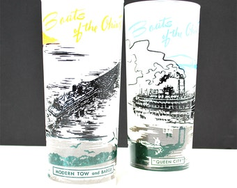 Boats of the Ohio River Glasses Set of 2 Queen City & Modern Tow/Barge