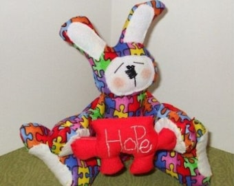 Autism Bunny Cloth Doll Pinkeep PDF ePattern Instant Download