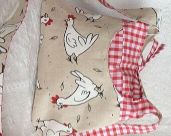 Chicken & Red Gingham Reversible Cross Body Bag