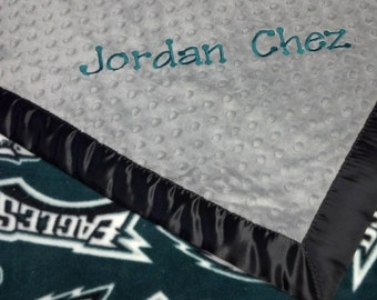 Personalized Philadelphia Eagles Football Fleece and Minky Baby Blanket.  Pillow, bib or burp rag also available.