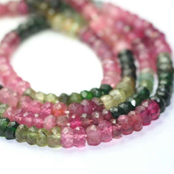 Tourmaline Micro Faceted Rondelles 15 Multi Color Watermelon Pink Green Yellow Brown Semi Precious Gemstone