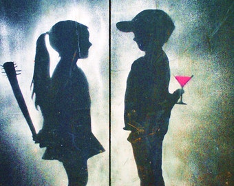 Boy Meets Girl (Graffiti Manchester), Fine Art Photography Print, Boy And Girl, Wedding Gifts, Valentines Day, Green, Gray, Pink,  Wall Art