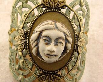 Romantic Embellished Brass Cuff Bracelet, Ceramic Face on Pale Green