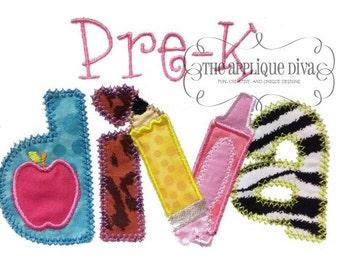 Back to School Pre-K Diva Digital Embroidery Design Machine Applique