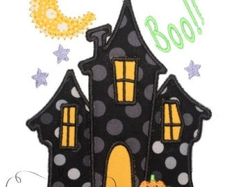 Halloween Haunted House  Digital Embroidery Design Machine Applique