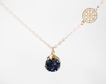 Dark Navy Druzy Necklace - simple round sparkling raw rock with deep blueish tint pendant