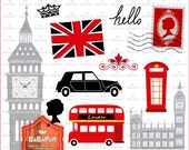 England Landmarks Clip Art Set 1 --- For Cards Making, Diy Projects, Personal and Small Commercial Use. BP 0800